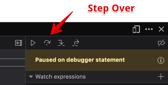 The step over command in the Firefox debugger.