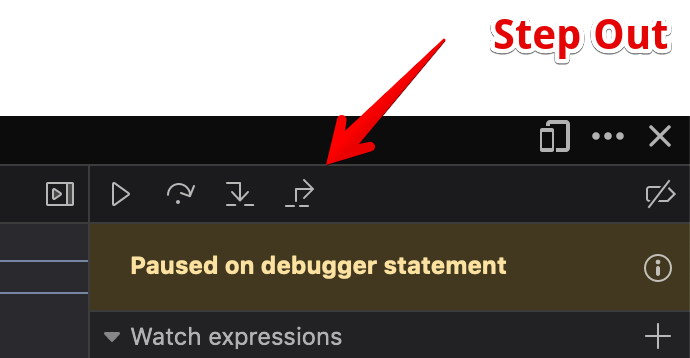 The step out command in the Firefox debugger.